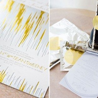 Bella Figura Real Wedding: Gatsby inspired celebration featuring Fugue foil stamped wedding invitations