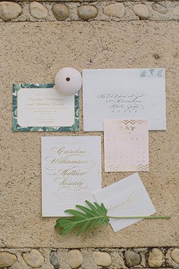 Bella Figura's Whisper wedding invitations set the tone for this real wedding in Jamaica