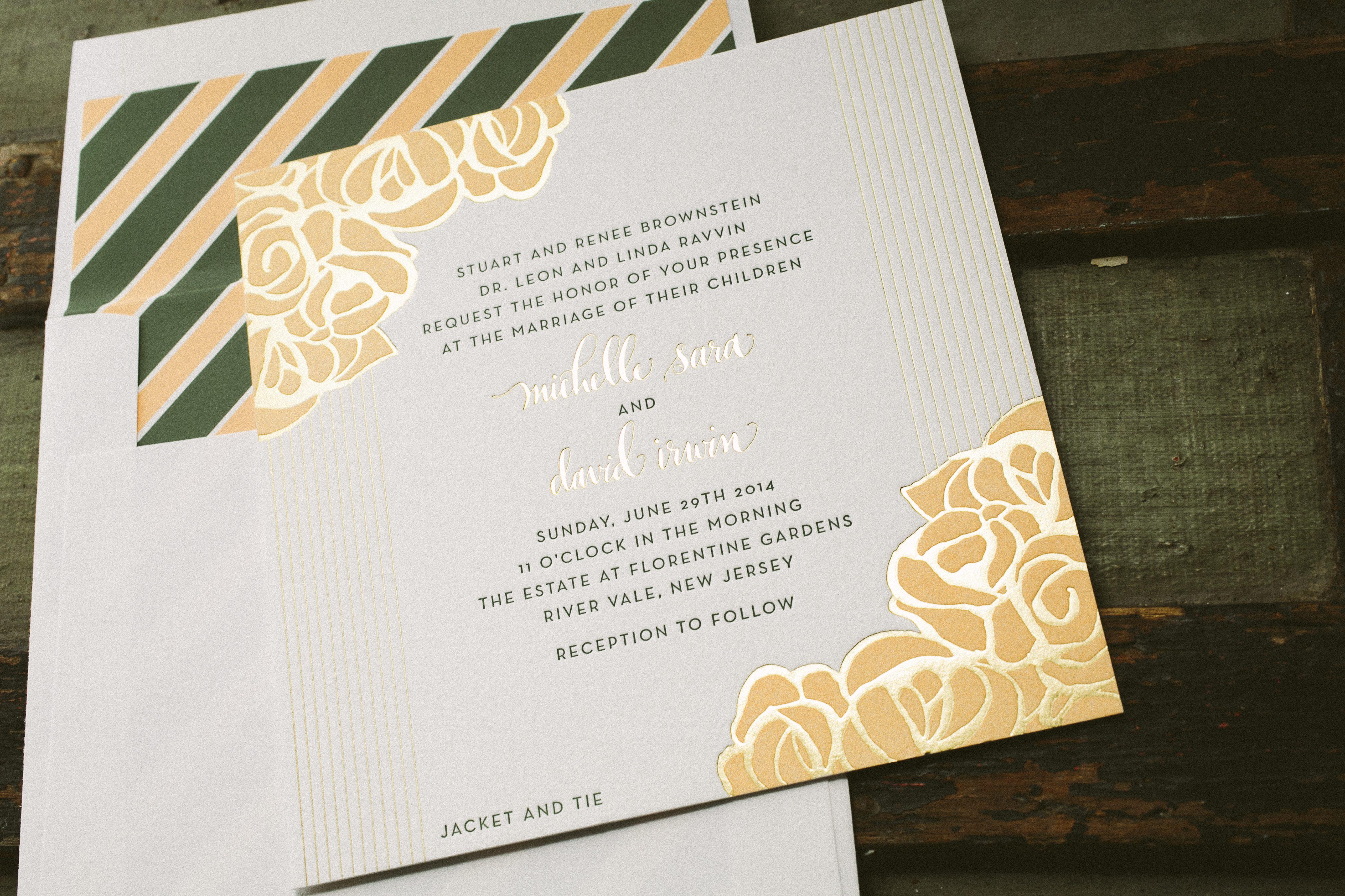 Wedding Invitations Rose: Foil And Letterpress Rose Wedding Invitations