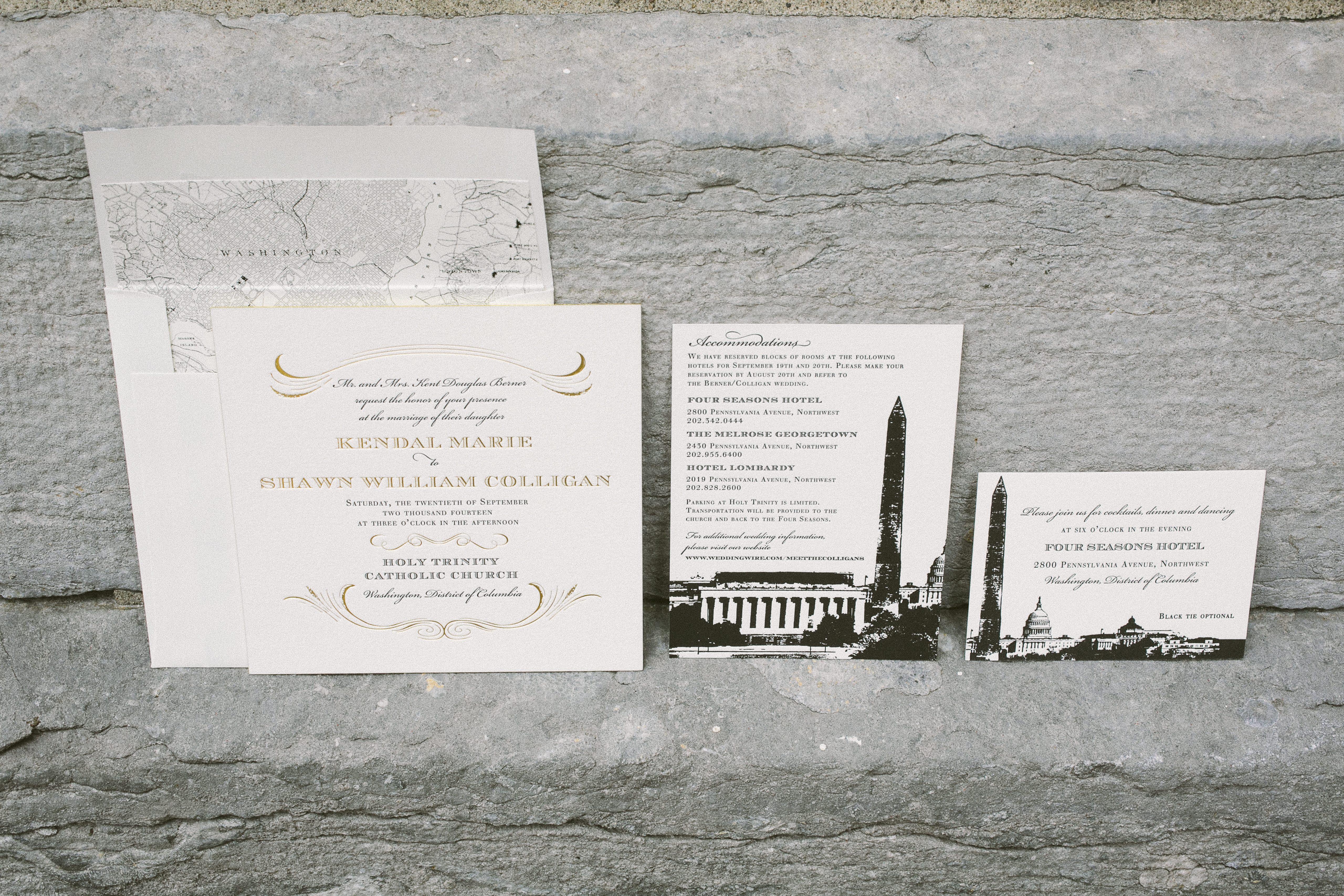Charmed Washington D.C. black and gold wedding invitations - Bella ...