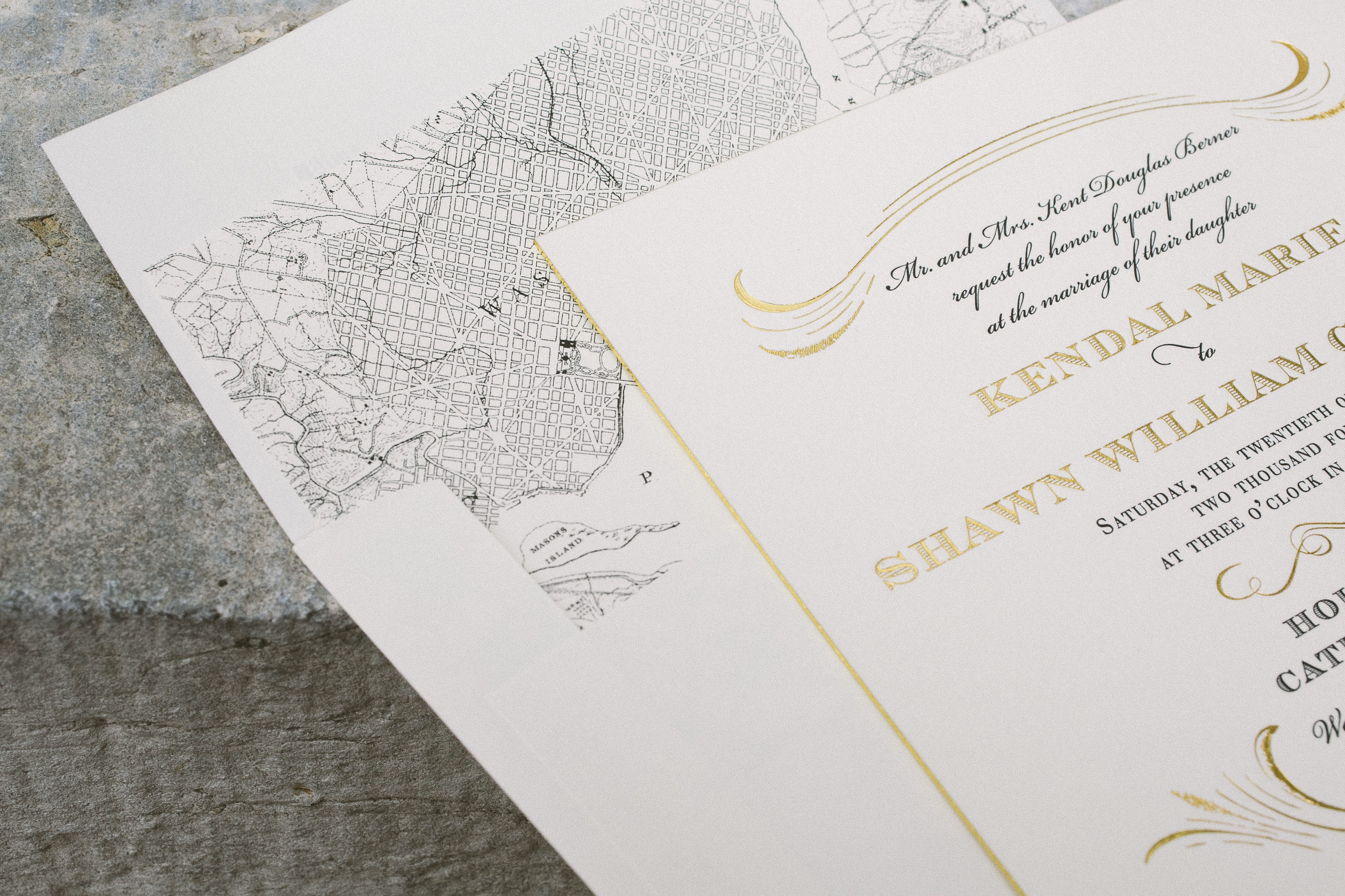 Charmed Washington D.C. black and gold wedding invitations - Bella ...