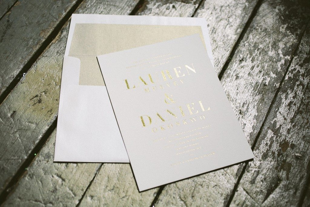 modern gold wedding invitations | Bella Figura