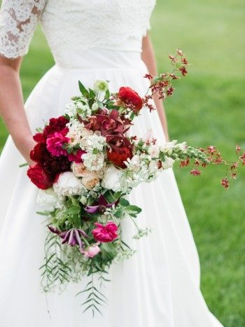 Red and white cascading bridal wedding bouquet