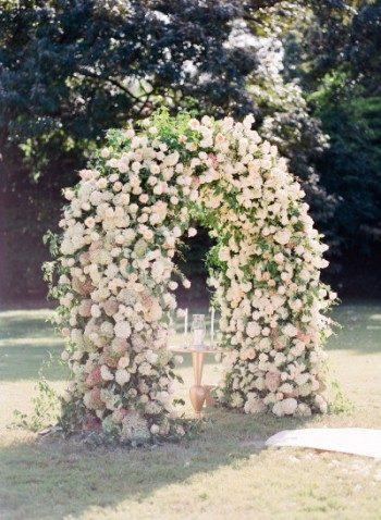 Romantic rose covered altar