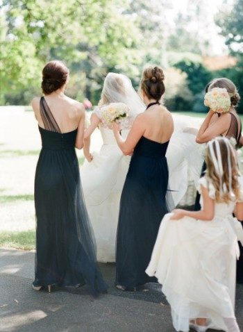 Navy bridesmaid dresses by Amsale