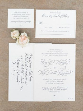 Classic Manhattan letterpress wedding invitations by Bella Figura