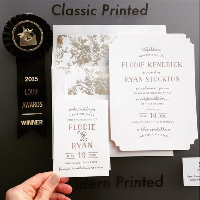 Bella Figura's Elodie design by Jessica Tierney received a Louie award at the 2015 National Stationery Show