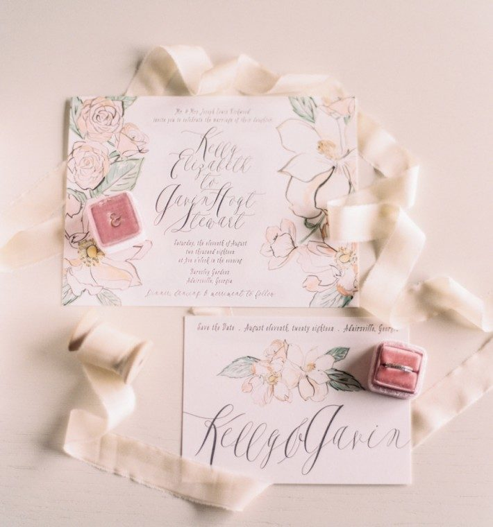 Bella Figura's English Garden wedding invitation suite featured alongside the Mrs. Box