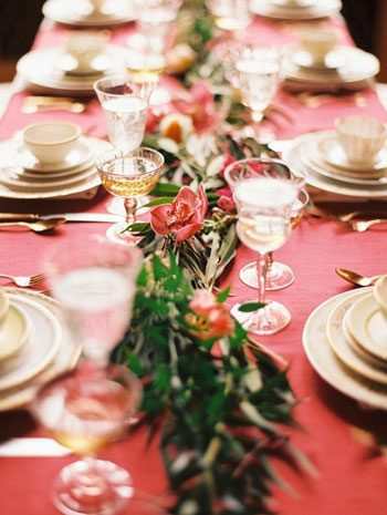 Marsala inspired wedding tablescape