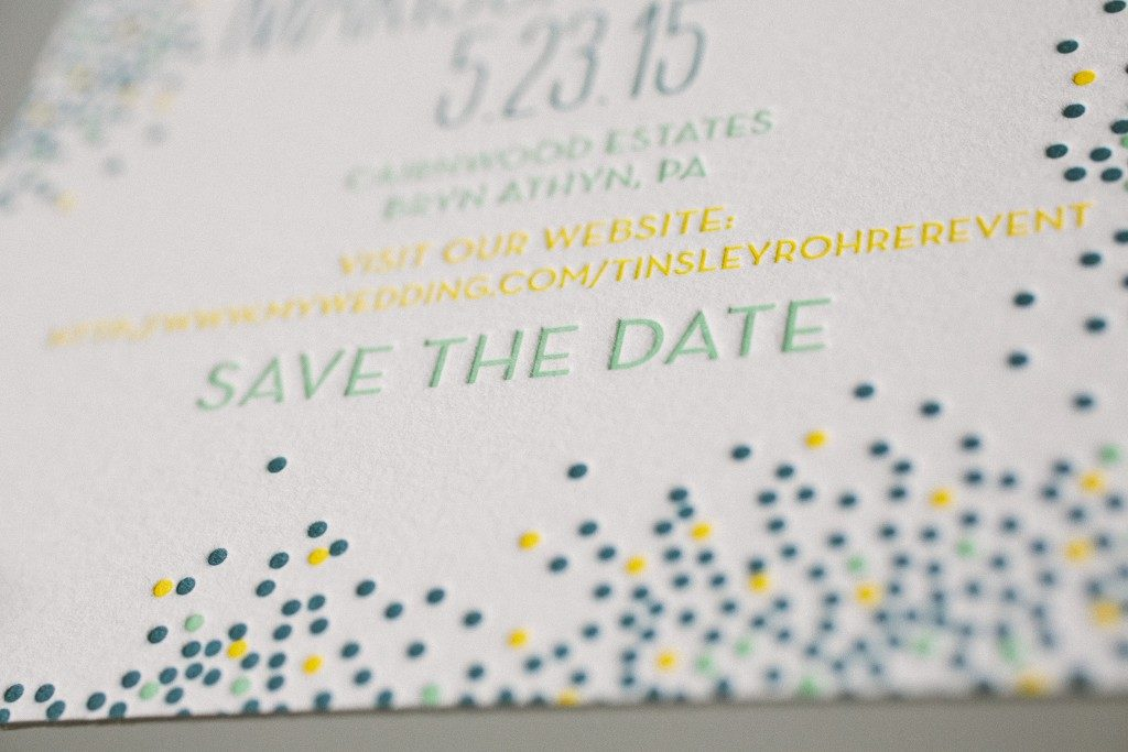 Bright + colorful letterpress save the dates | Bella Figura