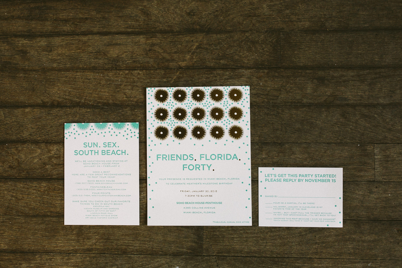 Frolic letterpress and foil fortieth birthday invitations - Bella Figura