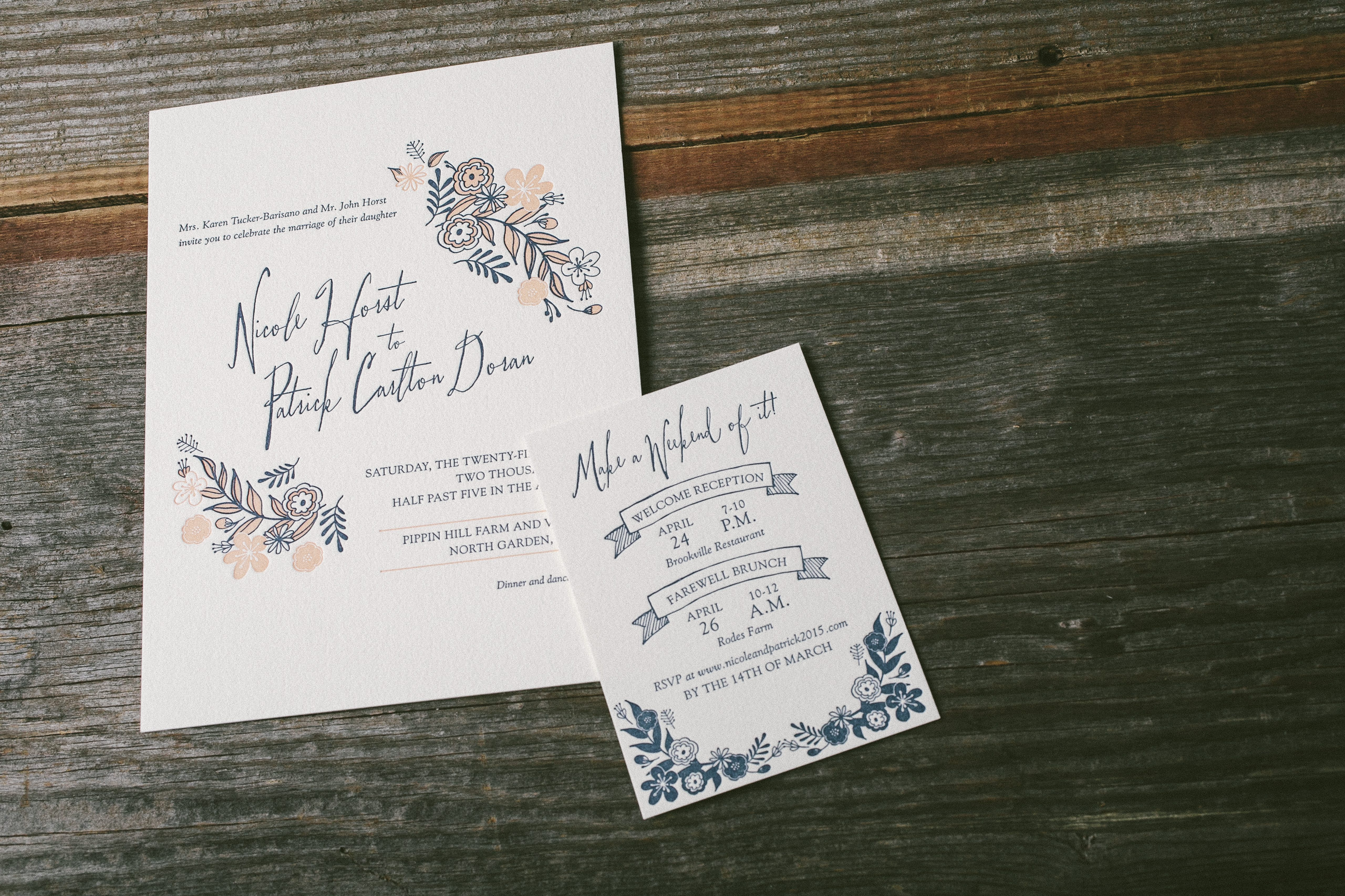 Folk Floral sweet + rustic wedding invitations - Bella Figura