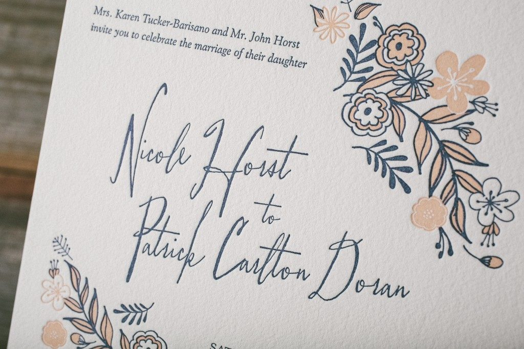 Folk Floral sweetly rustic wedding invitations | Bella Figura