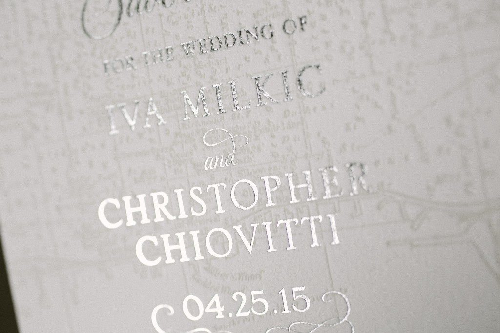Classic Manhattan foil and letterpress save the dates | Bella Figura