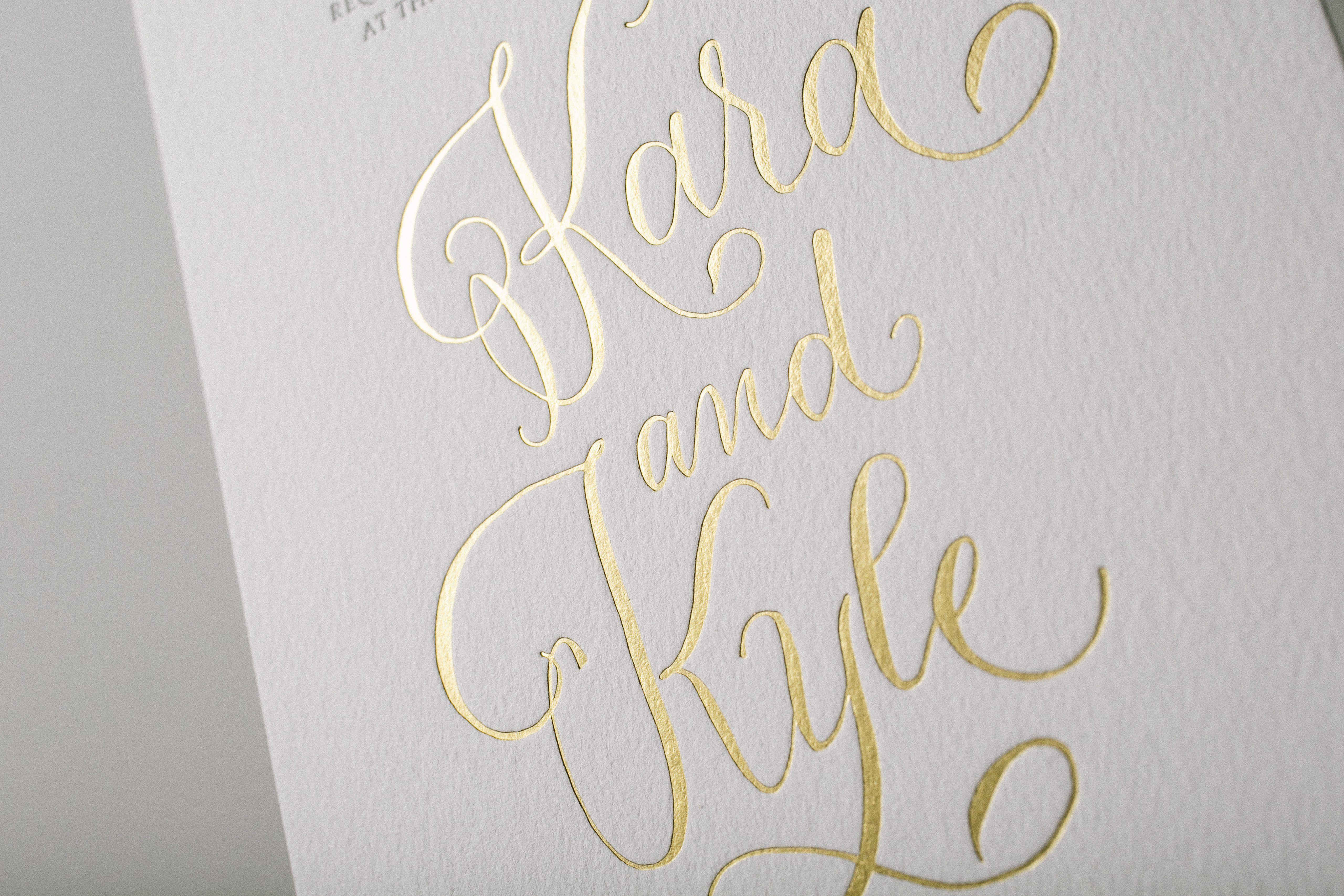 Gray gold modern calligraphy wedding invitations bella