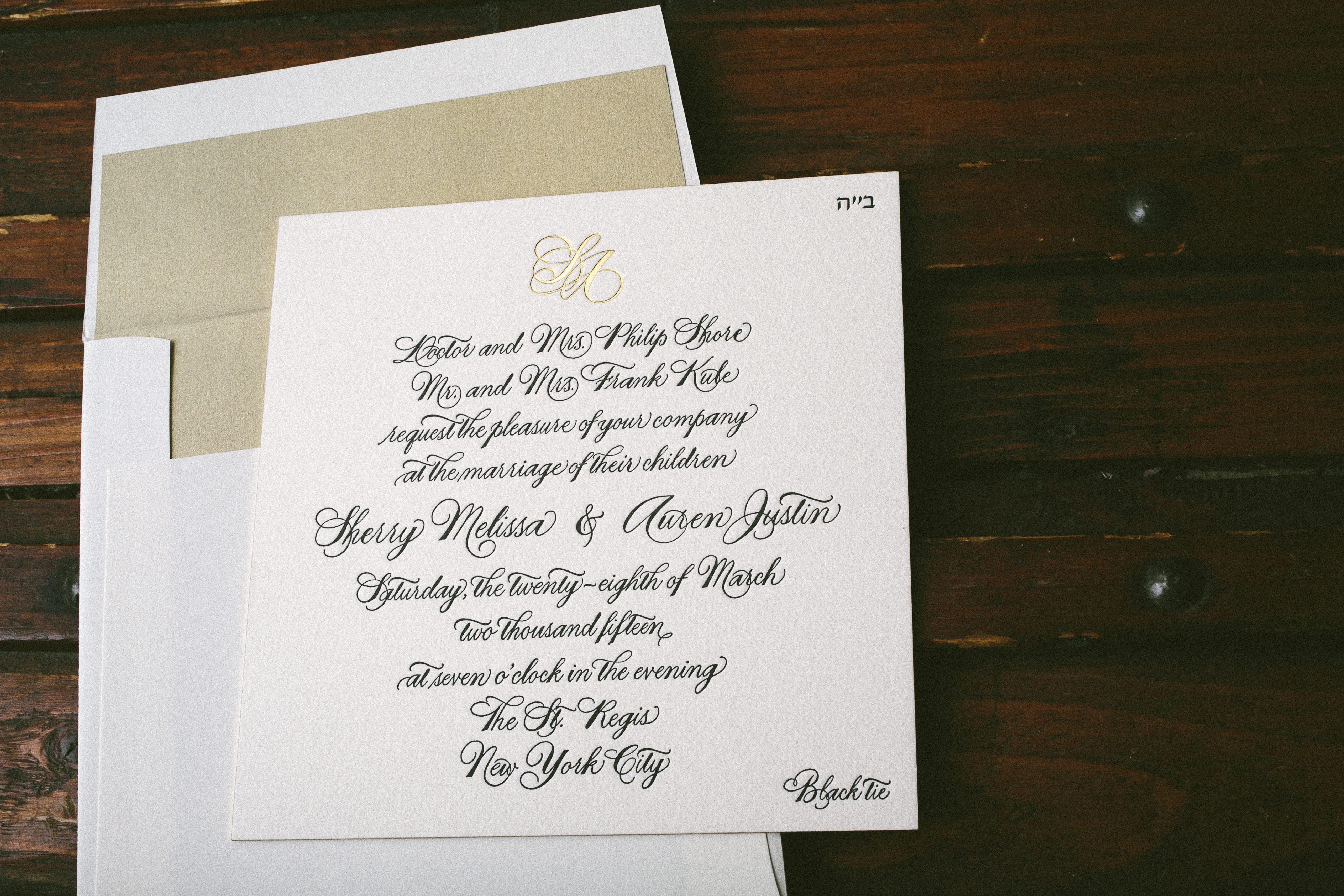 Black White Gold Wedding Invitations: Hand Calligraphed Black And Gold Wedding Invitations