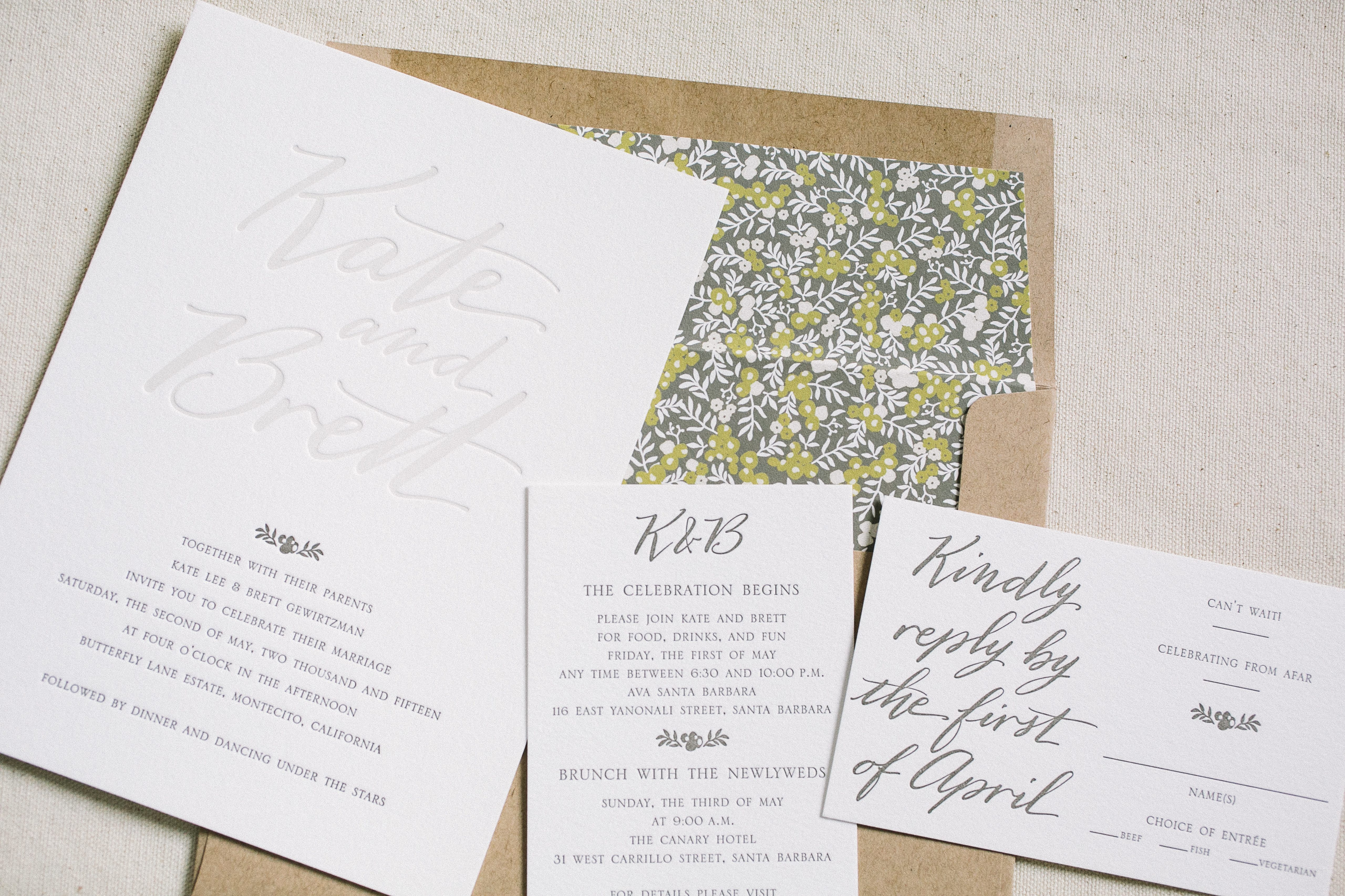 custom wedding invitations featuring hand calligraphy - Bella Figura