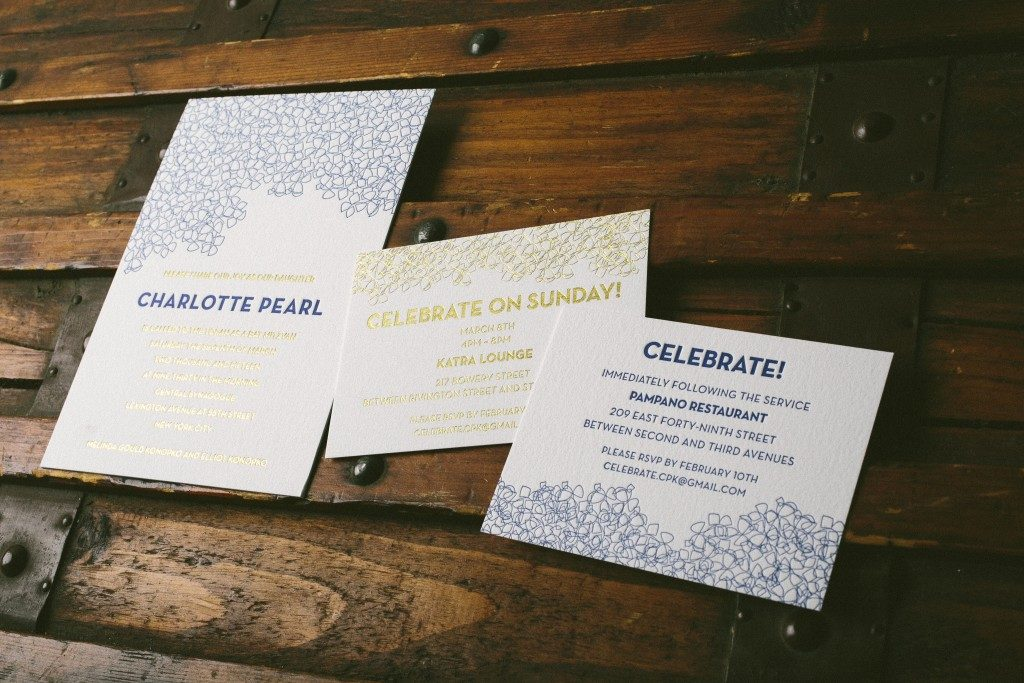 Blue and gold contemporary Bat Mitzvah invitations | Bella Figura
