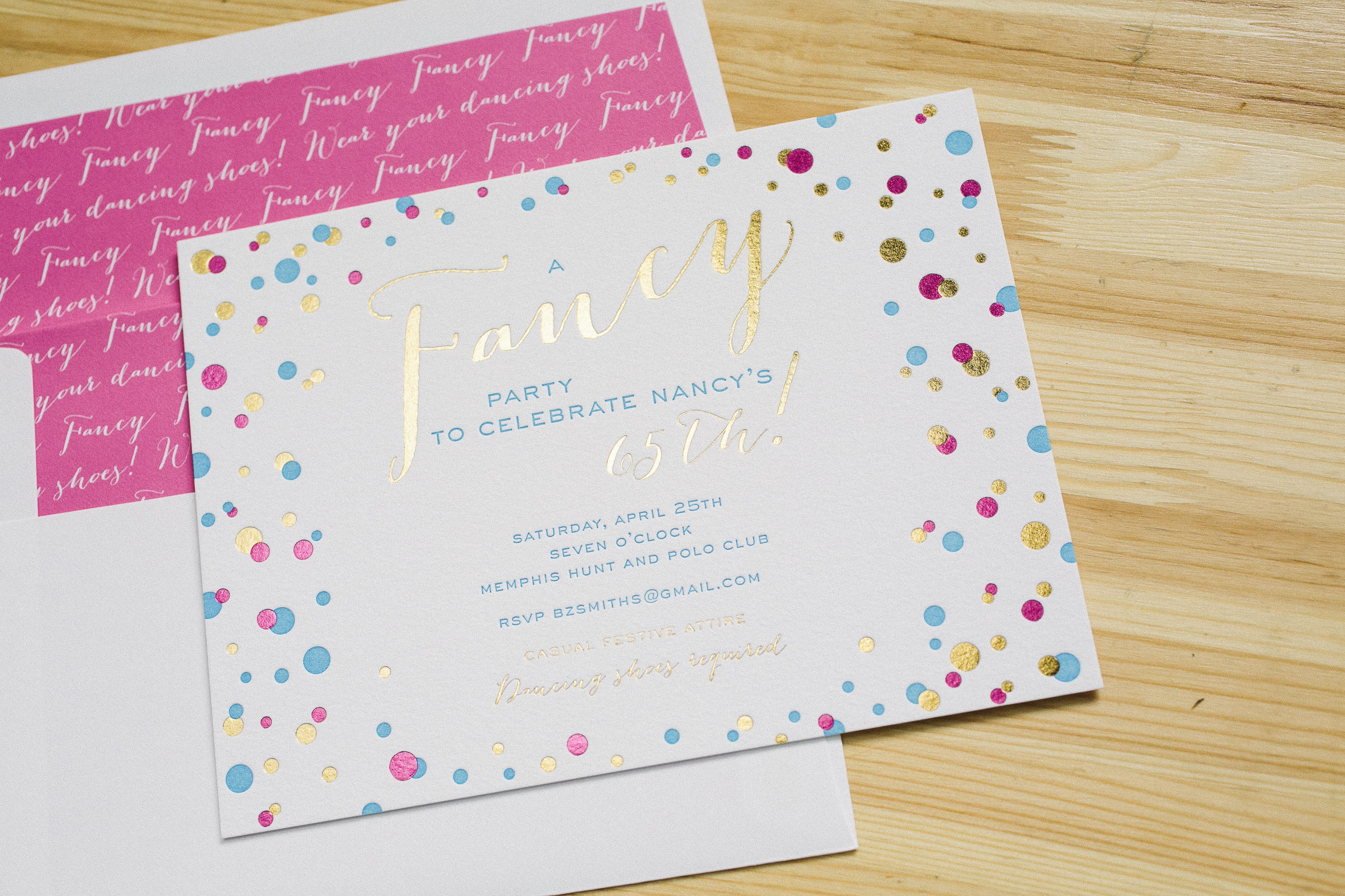 Fun fancy foil and letterpress birthday invitations Bella Figura – Letterpress Party Invitations