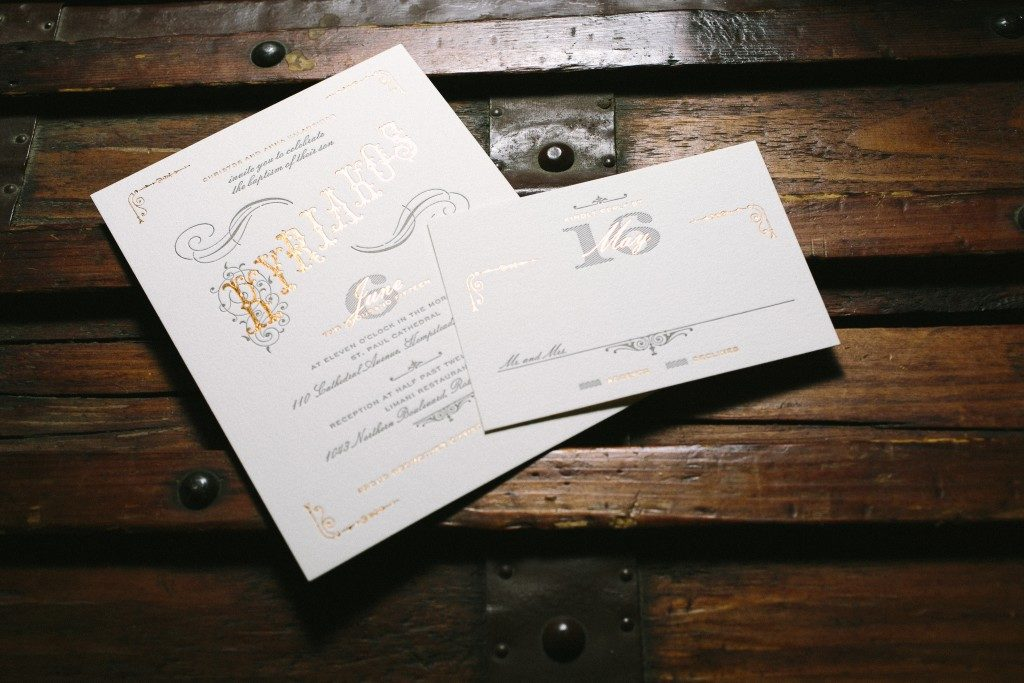letterpress baptism invitations | Bella Figura
