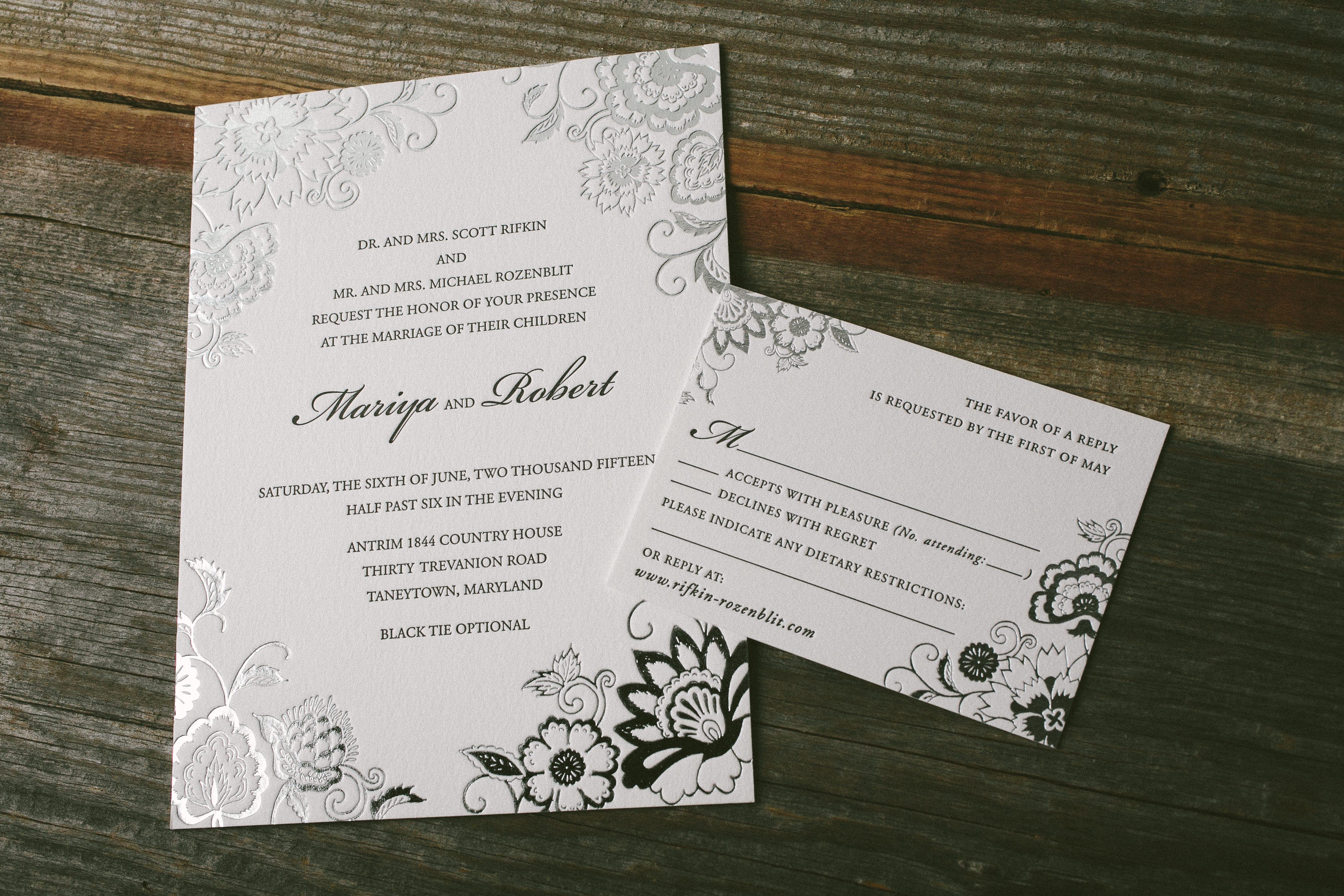 Black And Silver Wedding Invitations: Bella Figura