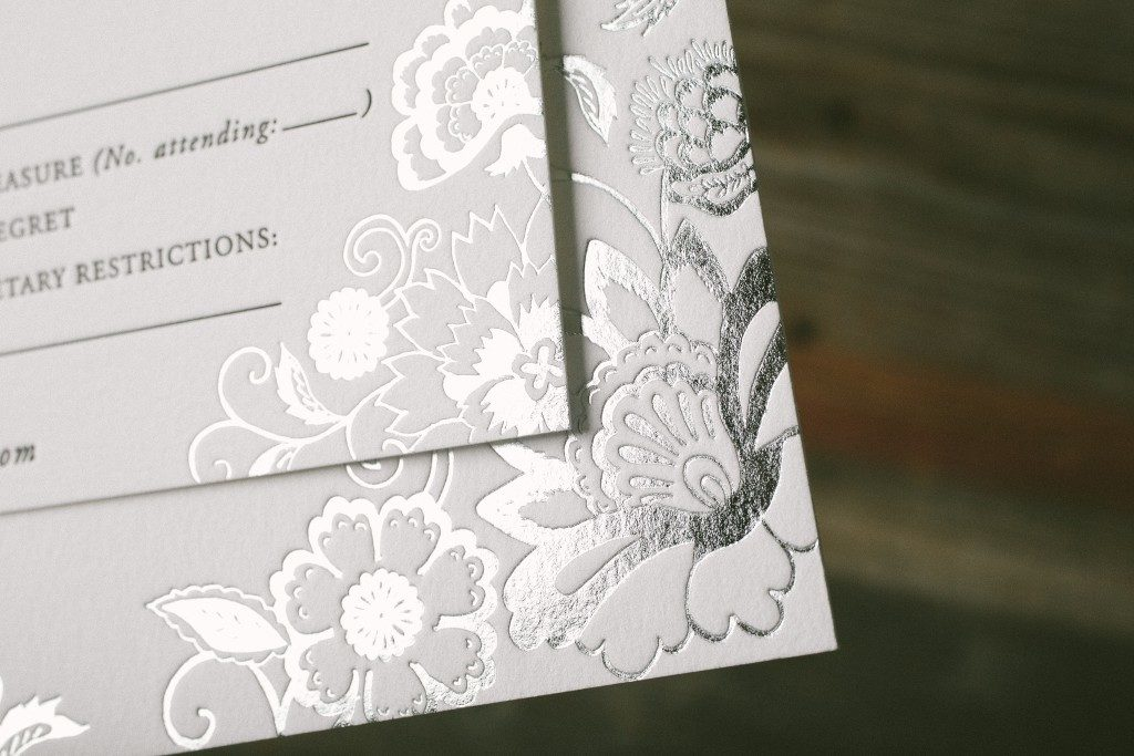 Black and silver vintage floral wedding invitations | Bella Figura