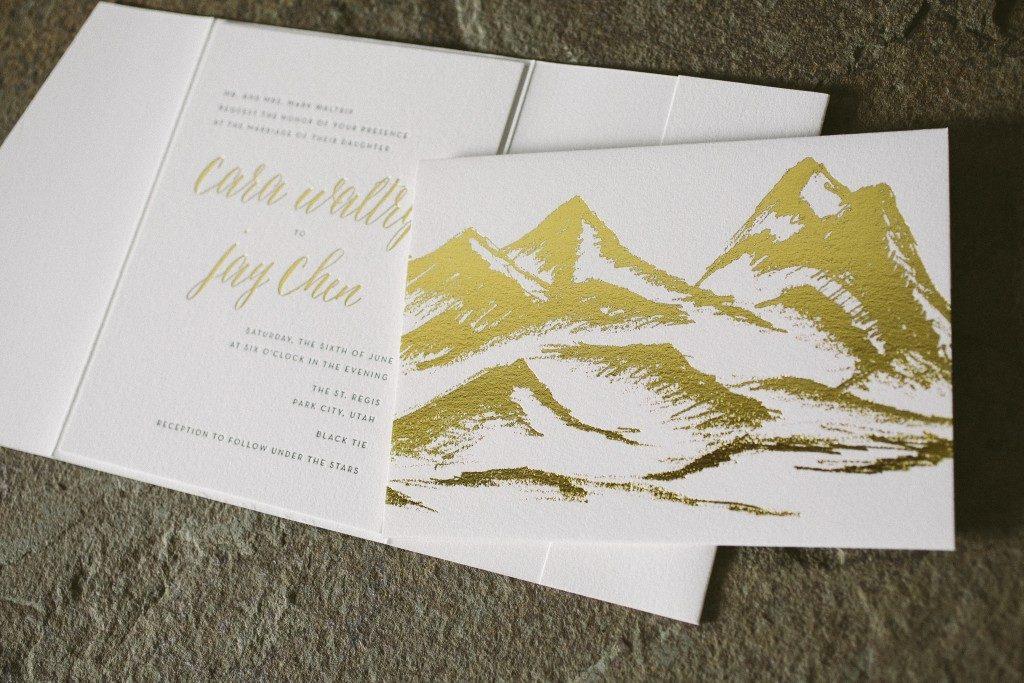 rustic wedding invitations in black and gold foil | Bella Figura