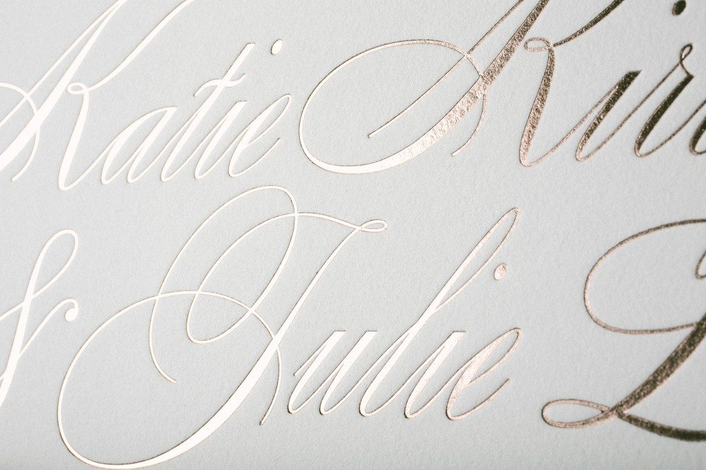 Florian Script rose gold wedding invitations | Bella Figura