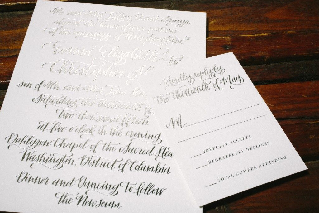 silver wedding invitations | Bella Figura