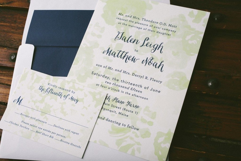 Navy + spring green watercolor wedding invitations | Bella Figura