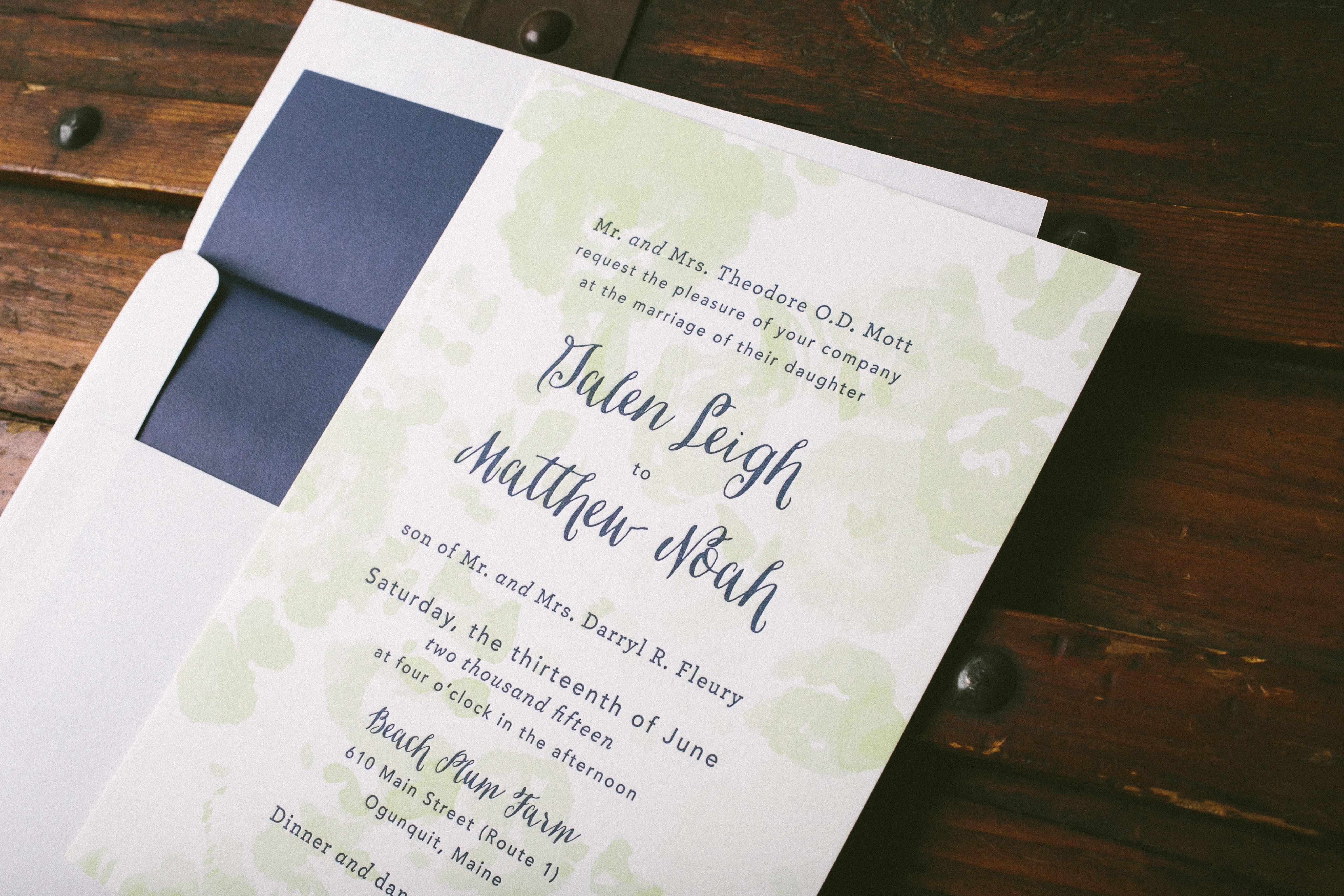 Navy Spring Green Watercolor Wedding Invitations Bella Figura