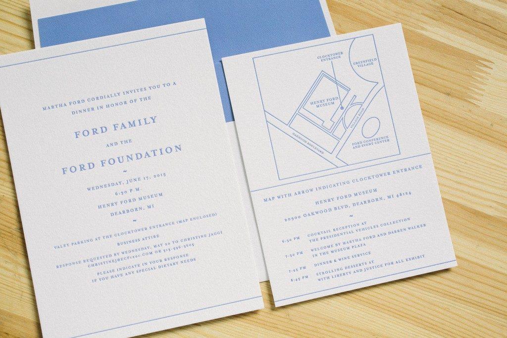 Letterpress invitations for the Ford Foundation | Bella Figura