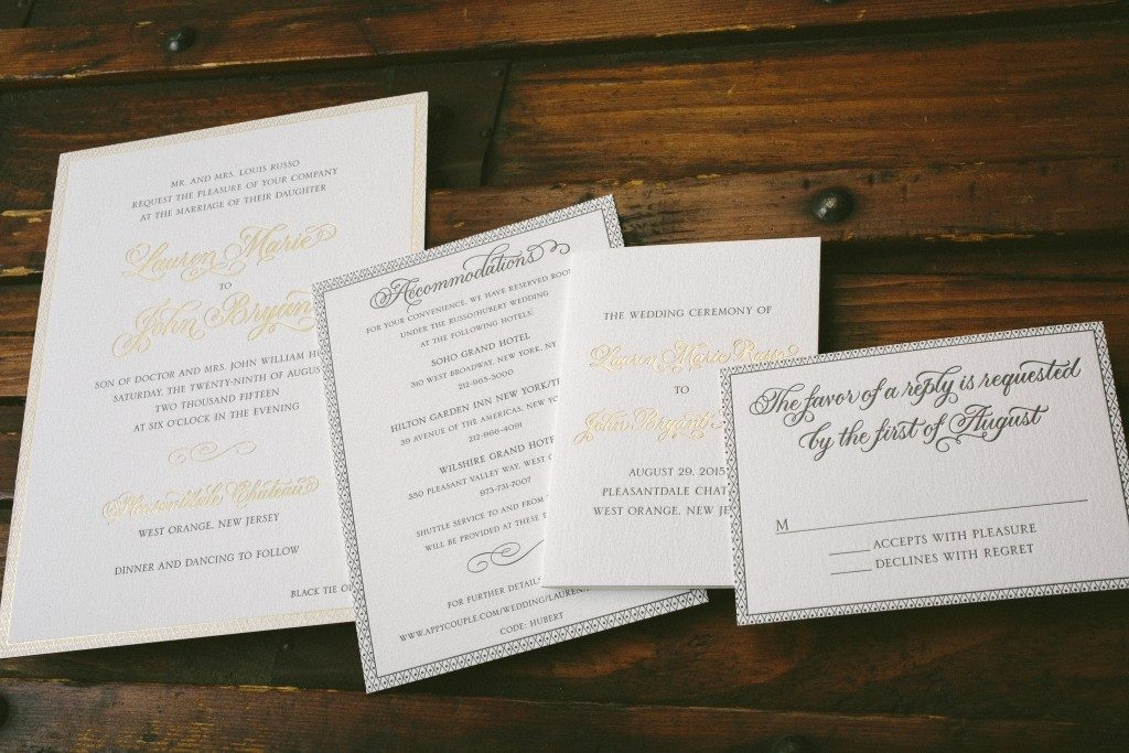 Romantic wedding invitations in pewter and gold | Bella Figura