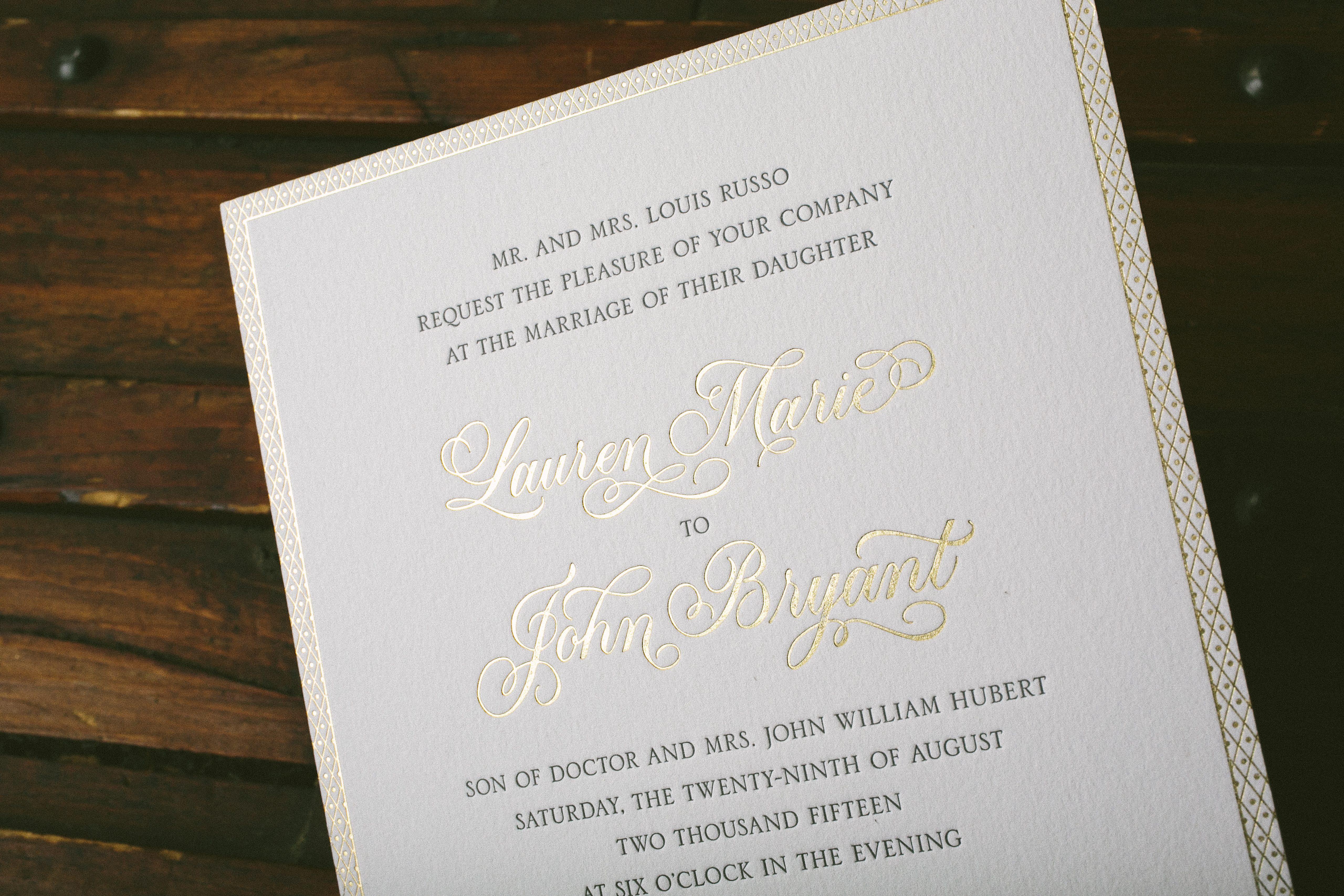 Romantic wedding invitations in pewter and gold - Bella Figura
