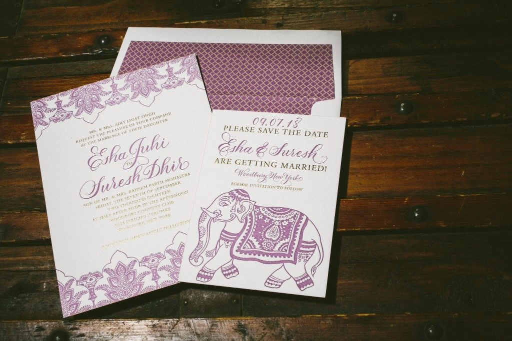 Darjeeling purple + gold foil stamped wedding invitations by Aimee O'Boyle for Bella Figura