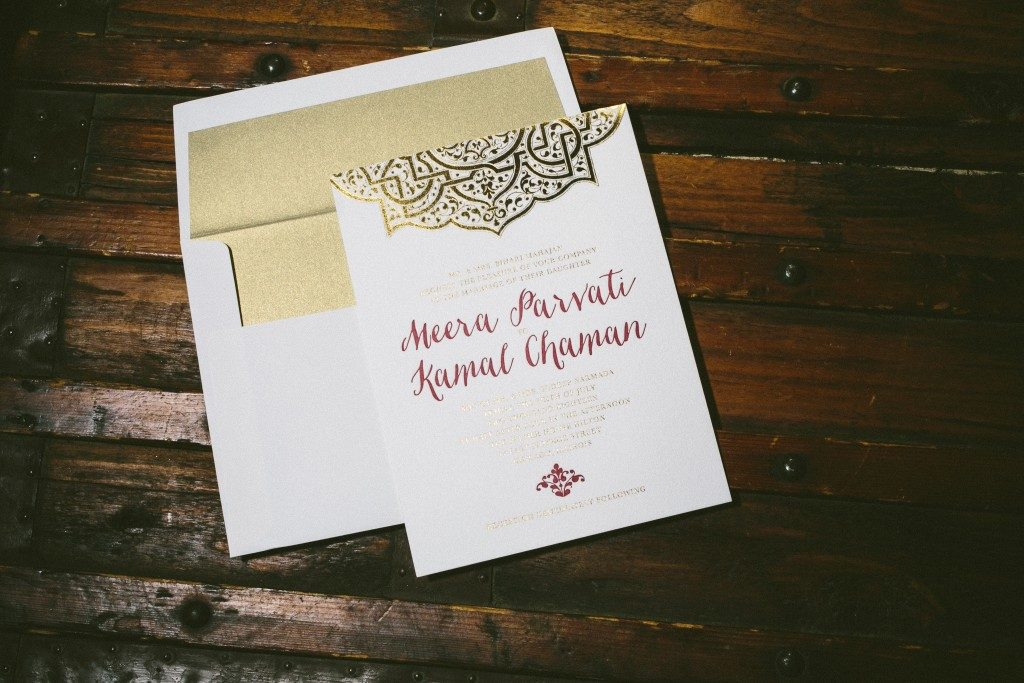 Mumbai Scrolls East Indian inspired wedding invitations by Aimee O'Boyle for Bella Figura