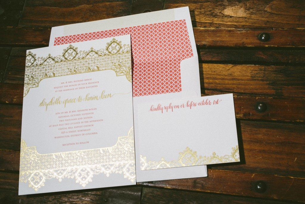 Ursula gold foil stamped wedding invitations by Aimee O'Boyle for Bella Figura