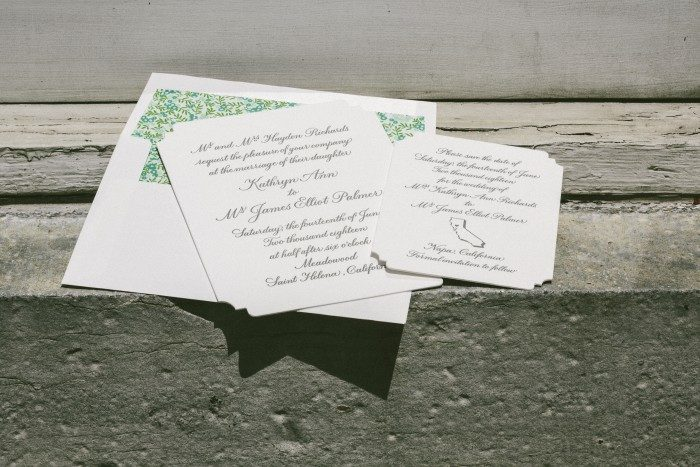 Napa calligraphy wedding invitations by Sarah Hanna