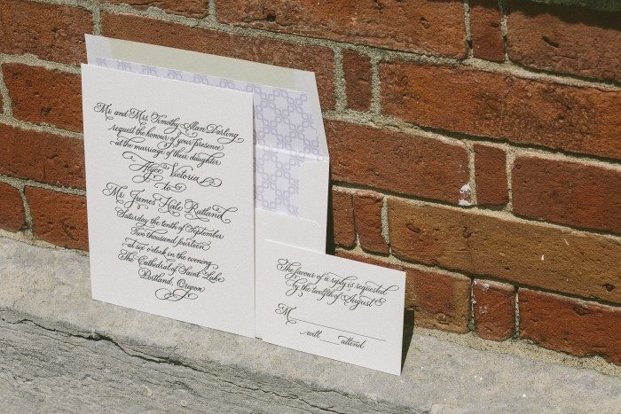 Victoria Calligraphy wedding invitations by Sarah Hanna