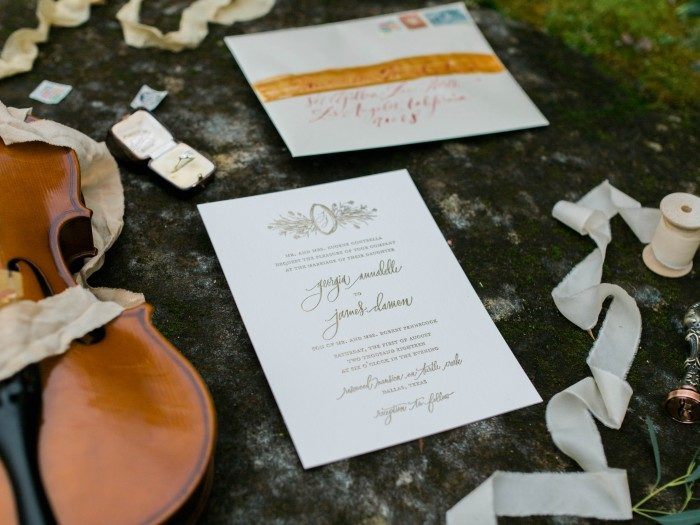 Bella Figura's Cordelia invitations featured in Dunaway Gardens shoot by Weddings Unveiled magazine