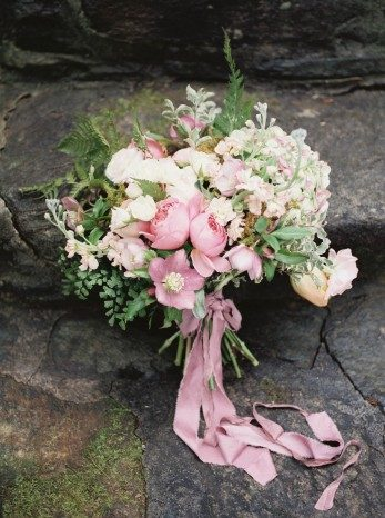 Pretty floral bouquet with pink ribbon
