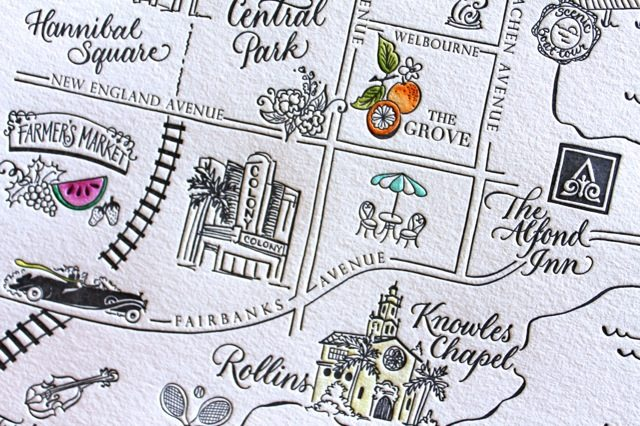 Letterpressed & hand-colored map of Winter Park, Florida by Sarah Hanna