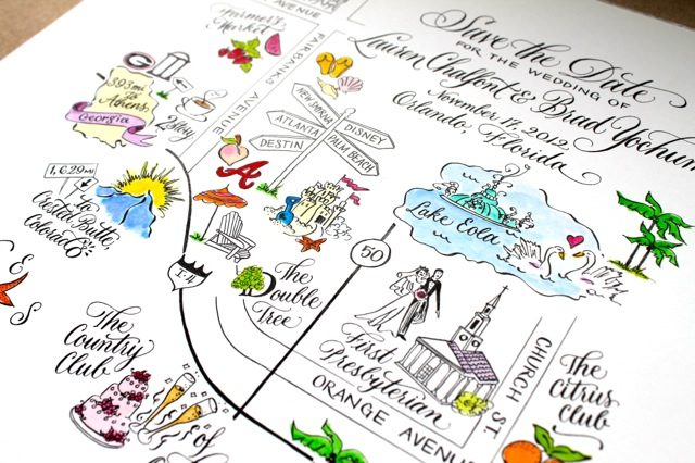 A custom map of Orlando created by Sarah Hanna for a 2012 wedding