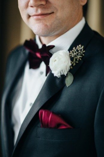 Real Bella Figura groom with a #marsala bow-tie