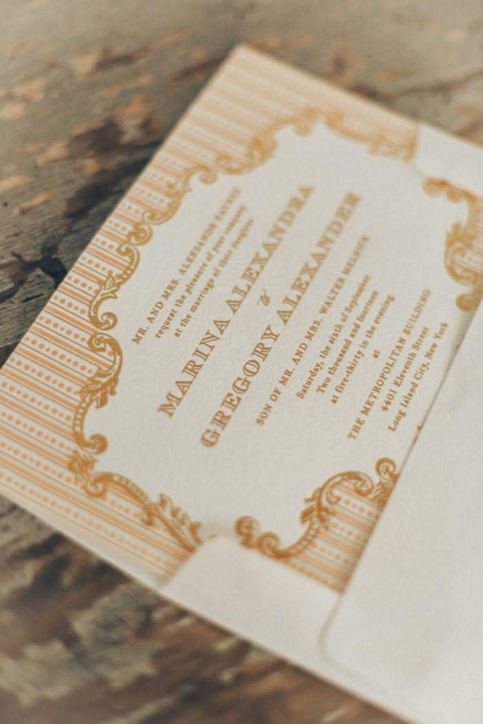 Bella Figura's A Bientot invitations featured in a real wedding on Style Me Pretty