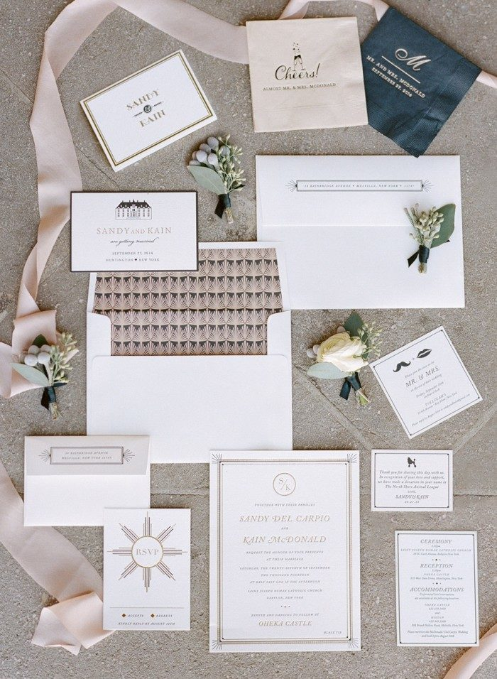 Odeon foil + letterpress wedding invitations by Bella Figura