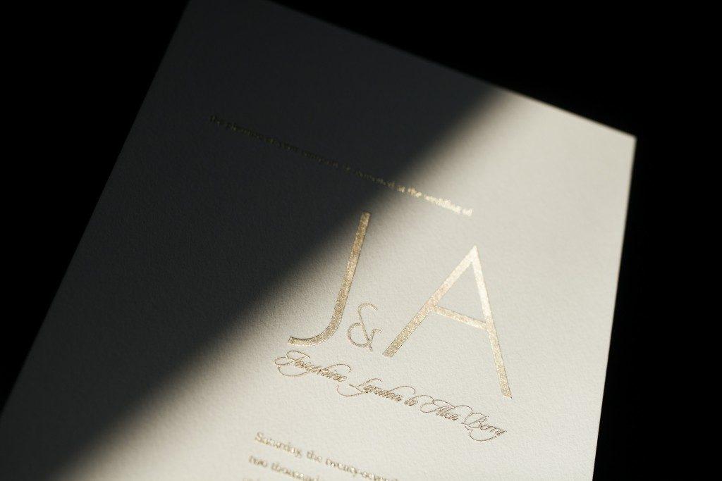 Brevity wedding invitation design by Tara Hogan for Bella Figura