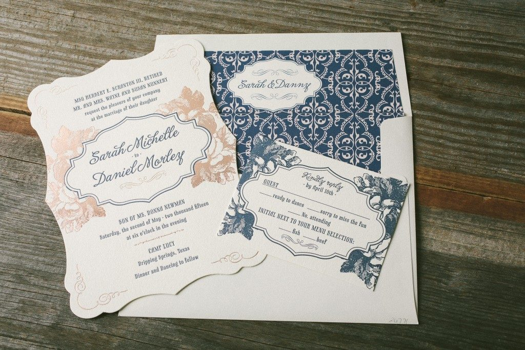 Navy and rose gold wedding invitations  | Bella Figura