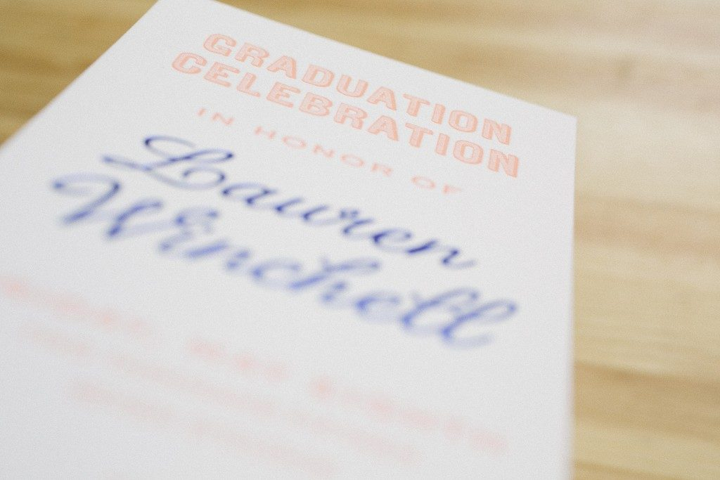 Foil and letterpress graduation invitations | Bella Figura