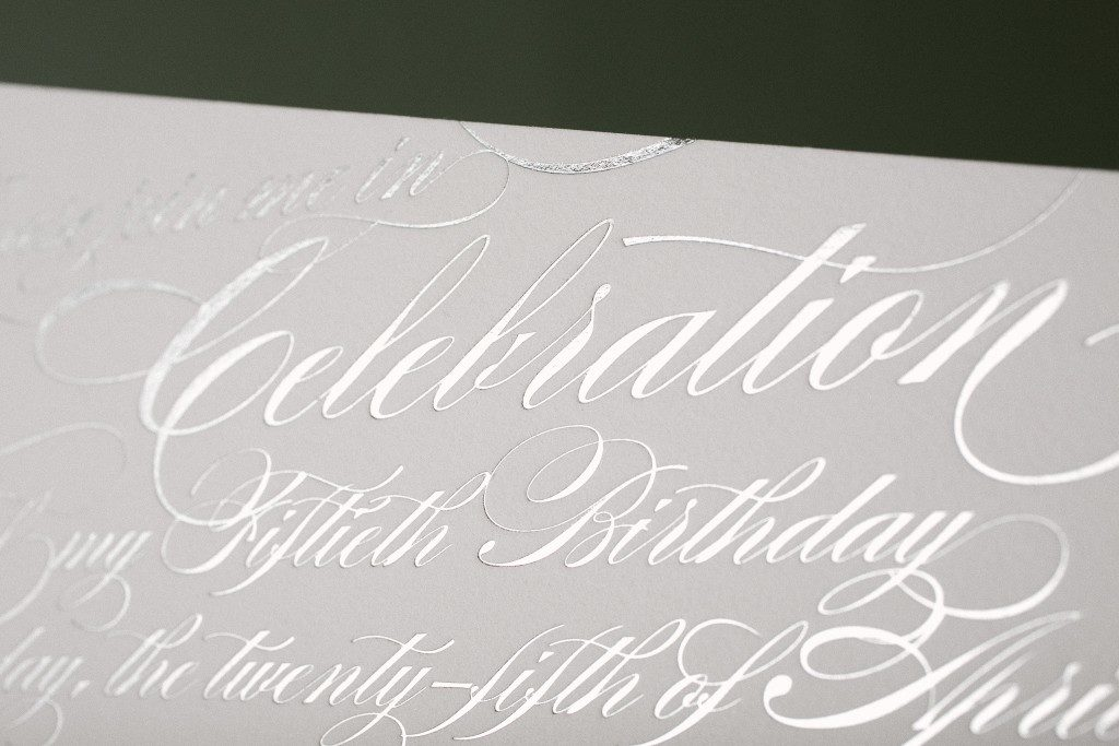 Fiftieth birthday invitations in silver shine | Bella Figura